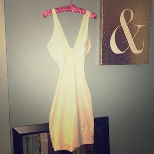 White cris cross body con midi dress